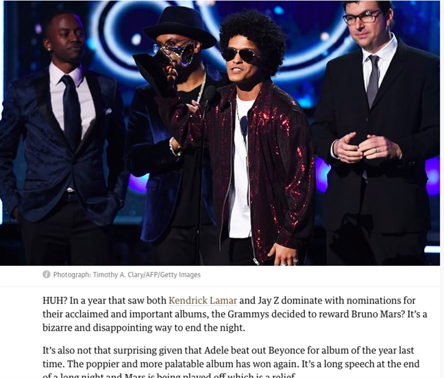 Gioi nghe si that vong sau khi Bruno Mars 'dai thang' 'Grammy 2018'