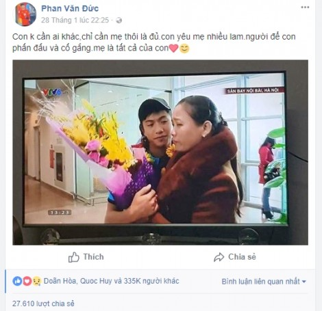 Mẹ Phan Văn Đức: 'Người hâm mộ thì có lúc này lúc khác, con chỉ cần có mẹ thôi'