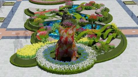 Ngắm chú chó linh vật khổng lồ bằng hoa sẽ xuất hiện trên đường hoa Nguyễn Huệ