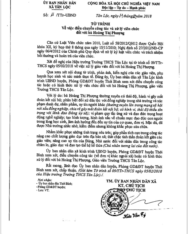 Vu nu giao vien bi xa de nghi dieu chuyen vi noi xau lanh dao: Co giao da viet gi tren mang xa hoi?