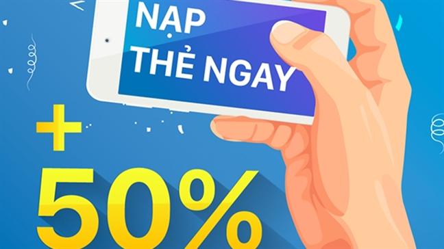 3 nha mang dong loat khuyen mai 50% the nap lan cuoi