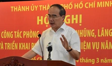 Chua the hai long voi cong tac phong chong tham nhung lang phi