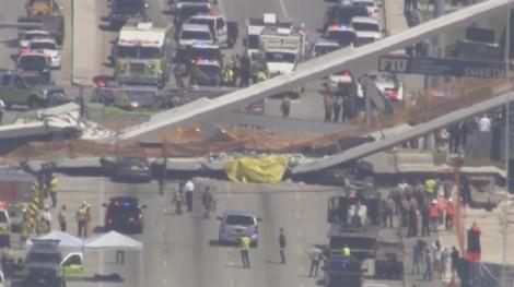 Mỹ: Cầu mới xây đã sập, nhiều người mắc kẹt dưới bê tông sắt thép