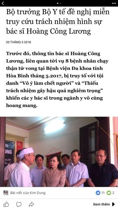 Trang tin bia dat ve Bo truong Y te da gia mao giay phep hoat dong cua Bo TT-TT