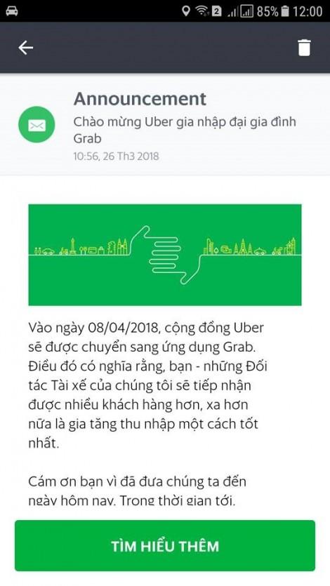Tài xế Uber tại Việt Nam sẽ chuyển sang Grab hoạt động từ 8/4
