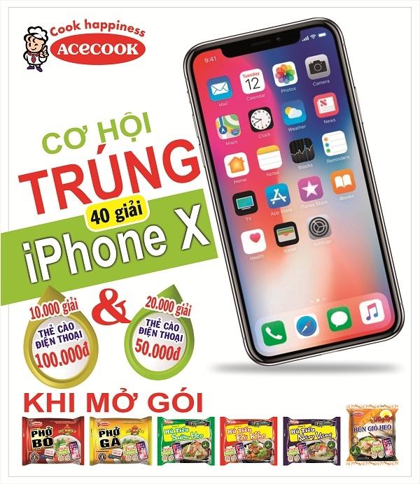 Co hoi trung iPhone X tu cac san pham gao an lien cua nhan hang Acecook Viet Nam