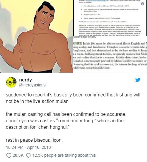 Disney bo nhan vat song tinh trong phien ban hoat hinh 'Hoa Moc Lan' khien nguoi ham mo phan no