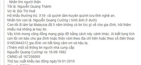Gia dinh len mang xa hoi tim tung tich con trai mat lien lac suot 5 nam o nuoc ngoai
