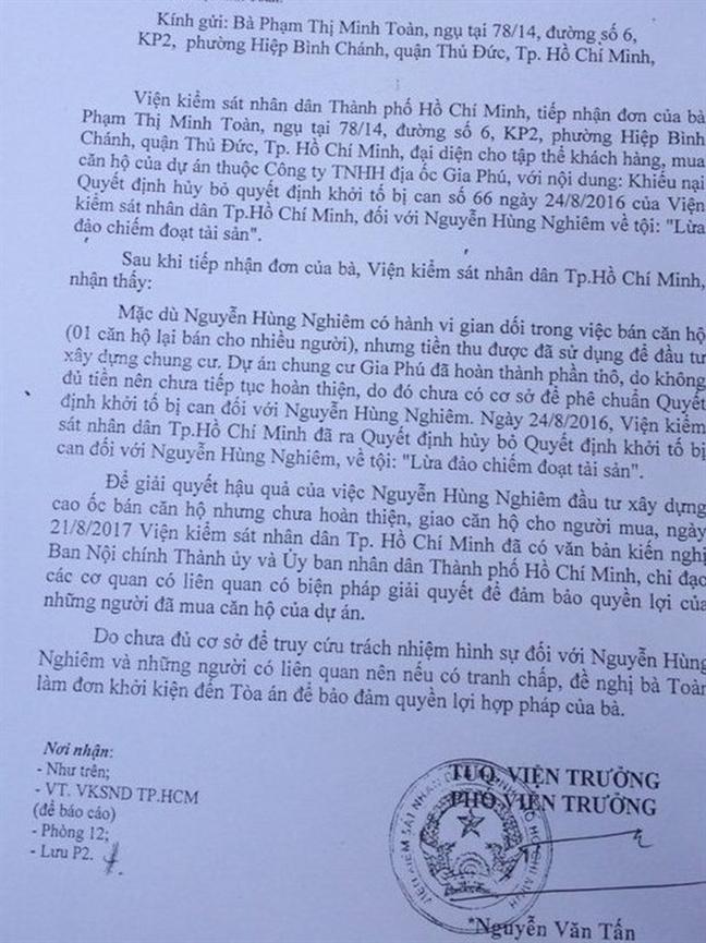 Vu Cong ty Gia Phu ban mot can ho cho nhieu nguoi: Vien Kiem sat nhan dan toi cao vao cuoc