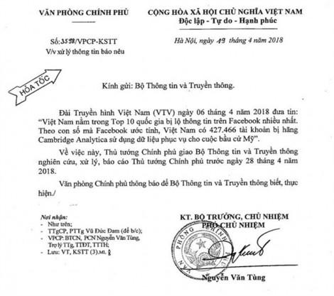 Thủ tướng yêu cầu xác minh, xử lý thông tin Việt Nam trong top 10 nước bị lộ thông tin trên Facebook