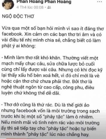 Hoi Nha van xu ly vu 'tho Facebook la tho rac' cua nha tho Phan Hoang