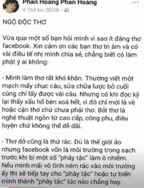 Hội Nhà văn xử lý vụ 'thơ Facebook là thơ rác' của nhà thơ Phan Hoàng