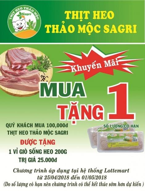Sagrifood thực hiện chương trình khuyến mãi thịt heo thảo mộc Sagri tại siêu thị Lotte