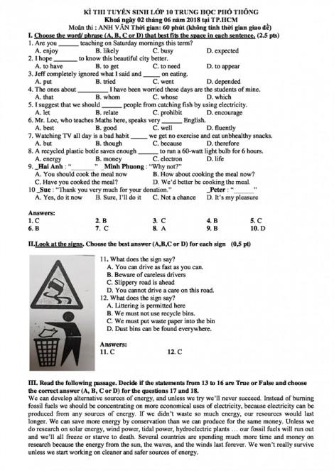 Gợi ý giải đề môn Tiếng Anh kỳ thi lớp 10 tại TP.HCM