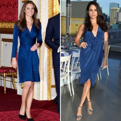 Gu thời trang đồng điệu kỳ lạ của Kate Middleton và Meghan Markle