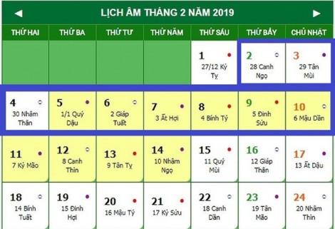 Tết Nguyên đán Kỷ Hợi 2019 có thể nghỉ 9 ngày