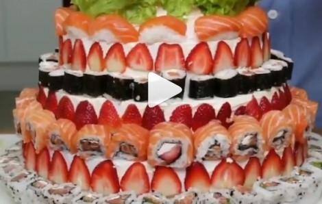 Hướng dẫn trang trí bánh kem sushi cá hồi lạ mắt