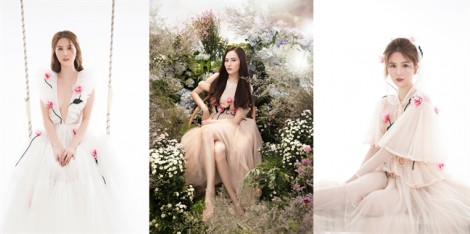 Ngọc Trinh, Diệu Linh lăng xê mốt váy voan hoa hồng 3D