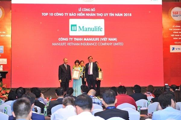 Manulife Viet Nam giu vung vi tri trong Top 3 cong ty bao hiem nhan tho uy tin 2018