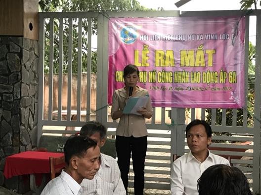 Huyen Binh Chanh: Ra mat Chi hoi Phu nu cong nhan lao dong