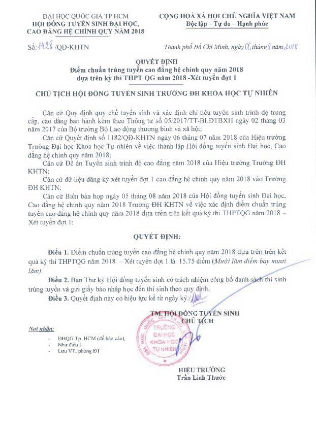 Diem chuan Truong DH Khoa hoc Tu nhien: Giam trung binh 4 diem