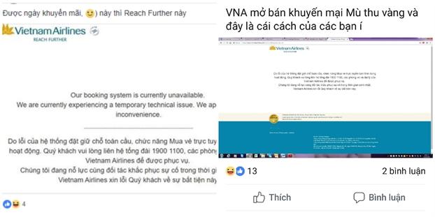 Mo ban ve uu dai 'mua thu vang', he thong Vietnam Airlines lien tuc bao loi