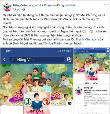 Giả Facebook nghệ sĩ, trục lợi tiền quyên góp Lê Bình, Mai Phương