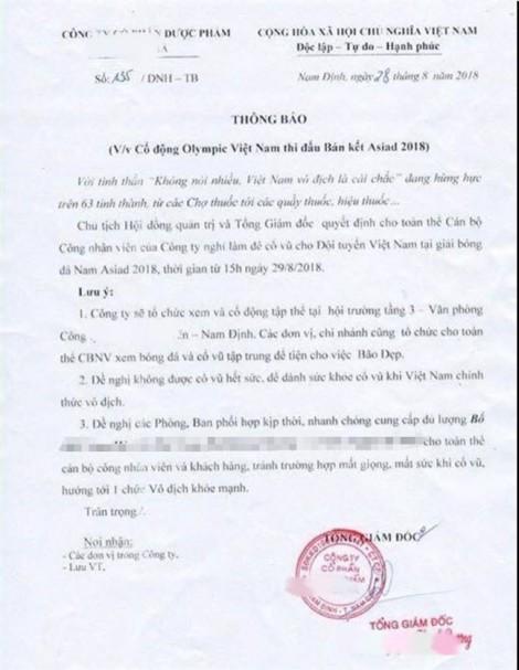Hàng loạt 'công điện khẩn' thông báo nghỉ làm sớm để cổ vũ Olympic Việt Nam