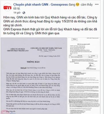 Mot cong ty chuyen phat nhanh dung hoat dong do khong con kha nang tai chinh