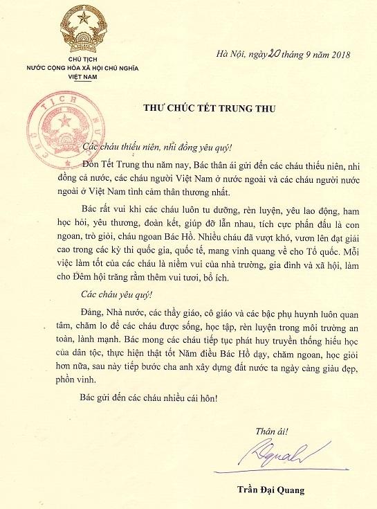 Buc thu cuoi cung cua Chu tich nuoc Tran Dai Quang