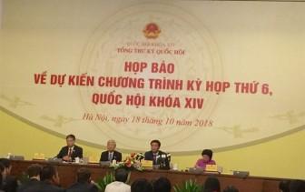 Kỳ họp thứ 6 Quốc hội khóa XIV sẽ lấy phiếu tín nhiệm trước khi chất vấn