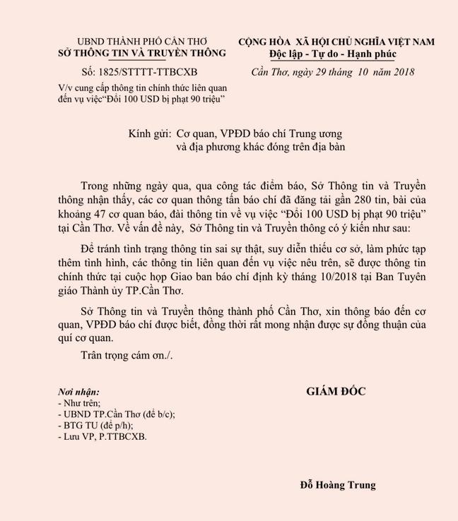 Vu doi 100 USD bi phat 90 trieu: So TT&TT Can Tho mong nhan su dong thuan cua bao chi