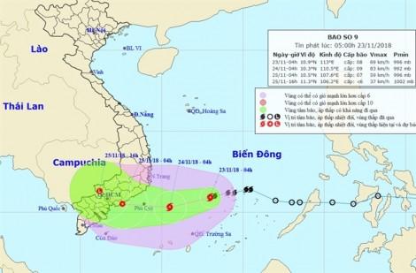 Bão số 9 cách Nam Trung Bộ 410km, đề phòng mưa lớn kỷ lục