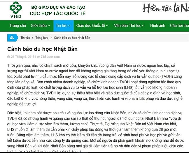 Bo GD-DT canh bao ve du hoc Nhat Ban