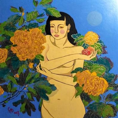 Ngam duong cong nguoi phu nu qua nhung buc tranh nude