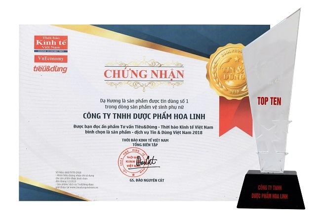 Da Huong 10 nam lien tiep dat giai thuong San pham duoc Tin & Dung so 1 trong dong san pham ve sinh phu nu (2008-2018)