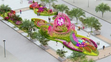 Phối cảnh lung linh của Đường hoa Nguyễn Huệ tết Kỷ Hợi 2019