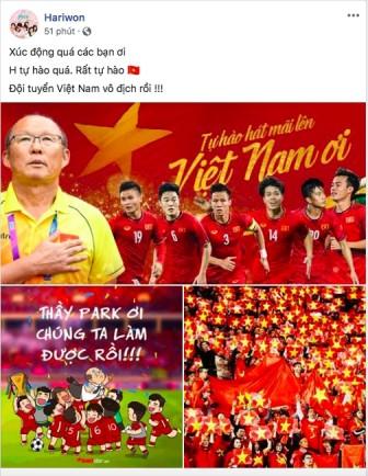 Nghệ sĩ Việt tưng bừng mừng Việt Nam vô địch AFF Cup sau 10 năm chờ đợi