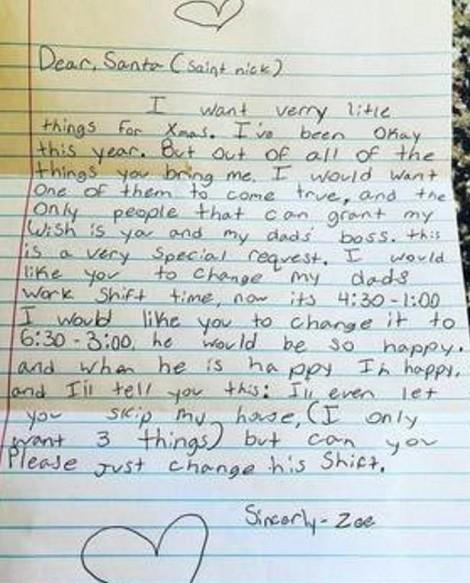 Bé gái viết thư năn nỉ ông già Noel điều cảm động không ai ngờ