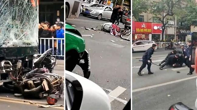 Trung Quoc: Cuop xe buyt tao ton roi dam vao dam dong