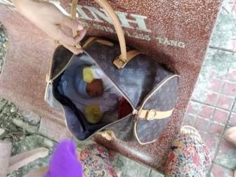 Em bé còn nguyên dây rốn nằm trong túi xách trên ghế đá công cộng