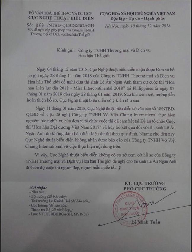 Le Au Ngan Anh khoi kien Cuc Nghe thuat Bieu dien