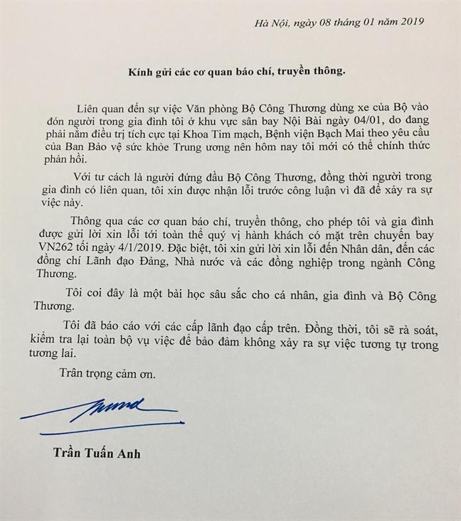 Bo truong Tran Tuan Anh: 'Toi xin loi toan the nhan dan'
