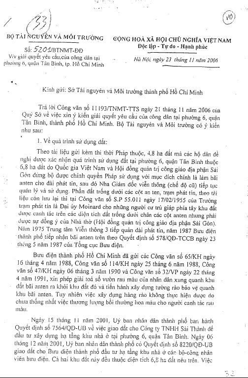 TP.HCM thong tin ve phap ly su dung dat tai cong trinh cong cong P.6, Q.Tan Binh