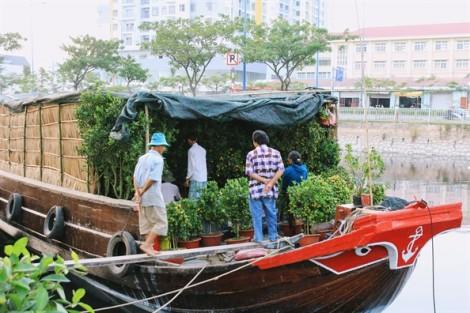 Hoa kiểng miền Tây vừa cập bến, người Sài Gòn lựa ngay trên thuyền