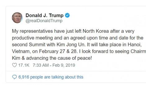 Tổng thống Trump sẽ gặp lãnh đạo Triều Tiên tại Hà Nội