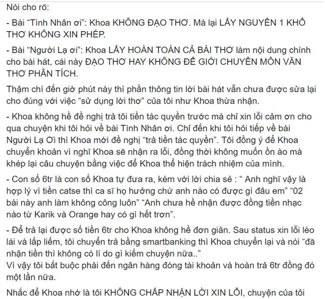 Tac gia Linh Linh: 'Chau Dang Khoa con no toi mot loi xin loi dang hoang'