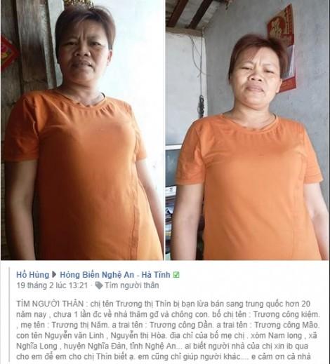 Nhờ mạng xã hội, người phụ nữ bị bán sang Trung Quốc 23 năm trở về gặp con