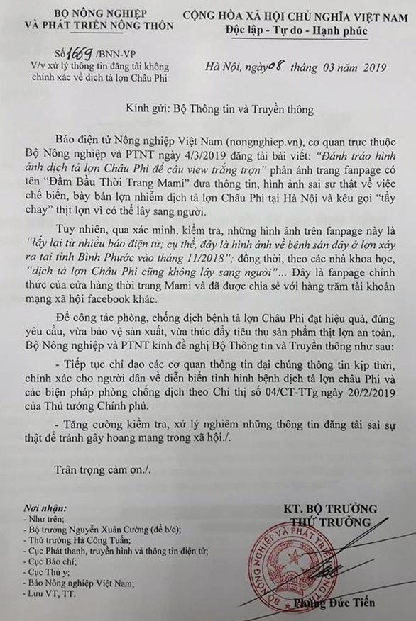 Loan thong tin that thiet ve dich ta lon, Bo NN-PTNT kien nghi xu ly nghiem