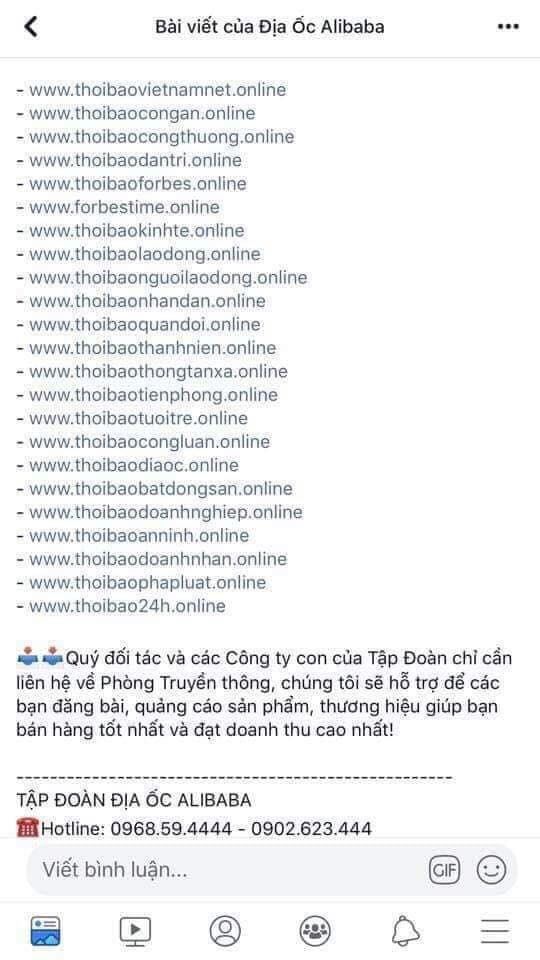 Cong ty dia oc Alibaba bi xu phat vi tung tin sai su that tren trang tin dien tu